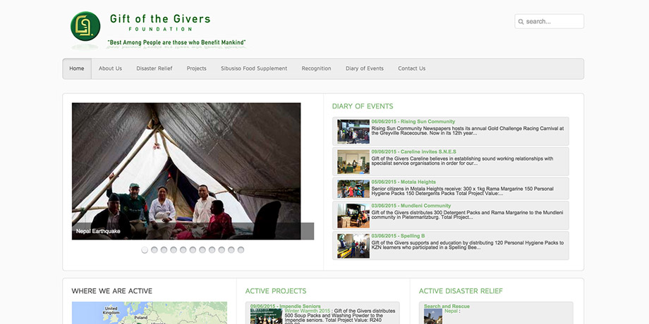 Gift of the Givers - Revamps Website: